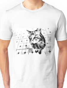 Harlequin Cat with Diamonds Black White Pop Art Unisex T-Shirt