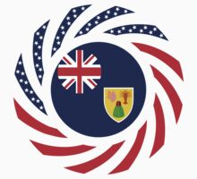 Turks & Caicos American Multinational Patriot Flag Series by Carbon-Fibre Media