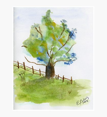 Blue Flowers Tree. Original Watercolor Painting Painting Art Print Fine Art Print from Watercolor Painting Landscape Art Print Green Field Watercolor Photographic Print