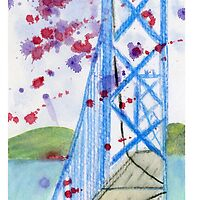 Bay Bridge - San Francisco - California - Watercolor painting lan by Eugenia Alvarez