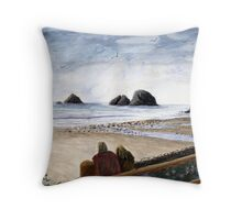 Oceanside Oregon Beach Watercolor Throw Pillow