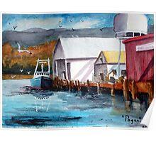 Garibaldi Oregon Harbor Boats Watercolor Poster