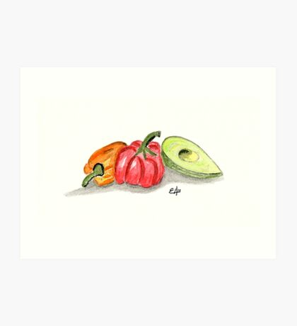 Red, Orange Peppers Painting Art Print Fine Art Print from Watercolor Painting Avocado, Vegetables Painting Art Kitchen Wall Art Art Print