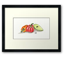 Red and orange peppers with an Avocado in the kitchen - watercol Framed Print