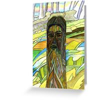 145 - THE GREEN MAN (INSPIRED BY STEVE WALTERS' CARVING) - DAVE EDWARDS - WATERCOLOUR - 2005 Greeting Card