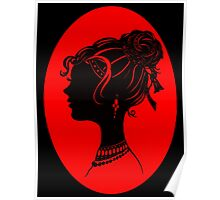 Red Vanity , Fashion Goth Silhouette Beauty Paper Cutout Fashion illustration Lady Poster