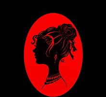 Red Vanity , Fashion Goth Silhouette Beauty Paper Cutout Fashion illustration Lady by IrenesGoodies