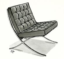 Barcelona chair - Watercolor Painting  by Eugenia Alvarez