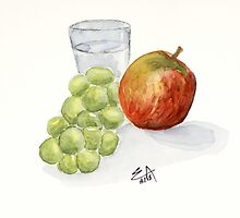 A red apple, green grapes and a glass of water in the kitchen - watercolor painting. by Eugenia Alvarez