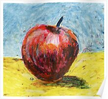 Red apple. Oil pastel painting Poster