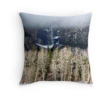 Cottonwood Trees and Yosemite Falls  Throw Pillow