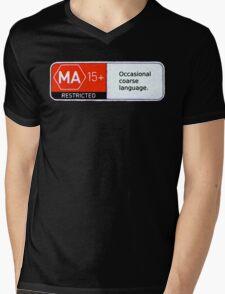 MA15+ Occasional Coarse Language, Funny Mens V-Neck T-Shirt