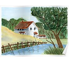 Lake house - Watercolor painting Poster