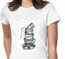 Mouse in teacups Womens Fitted T-Shirt