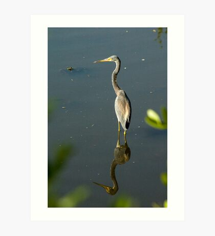 Heron Mirrored Art Print