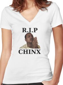 RIP CHINX Women's Fitted V-Neck T-Shirt