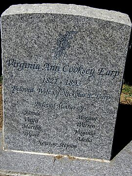 "The head stone of Virginia Earp ""Mother of Wyatt Earp"" in Pioneer Memorial Cemetery, San Bernardino, California by DonnaMoore"