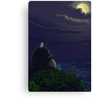 Totoro playing the ocarina Canvas Print