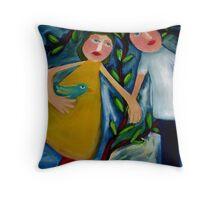 HAROLD , JEMIMA and THE LOVEBIRD. Throw Pillow