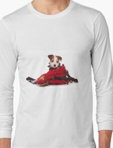 Jack Russell Terrier puppy and a red bag Long Sleeve T-Shirt