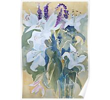 White lillies by Mary Faux Jackson Poster