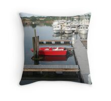 Red boat at Gloucester Throw Pillow