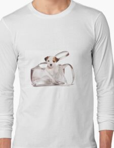 Jack Russell Terrier puppy and a bag Long Sleeve T-Shirt