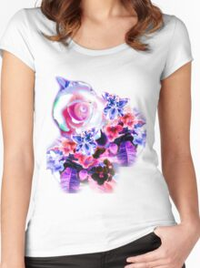 FLORAL ELECTRIC ROSE Women's Fitted Scoop T-Shirt
