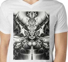 Black and White Butterfly Mens V-Neck T-Shirt