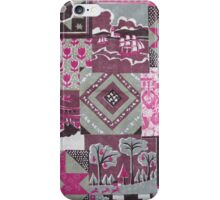 Vintage pink maroon floral patch work pattern iPhone Case/Skin