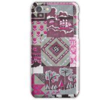 Vintage pink maroon floral patch work pattern iPhone Case/Skin