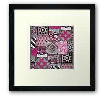 Vintage pink maroon floral patch work pattern Framed Print