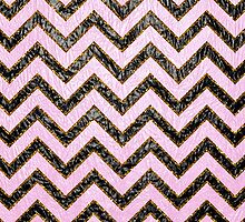 Black pink gold faux leather chevron pattern  by Maria Fernandes
