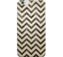 Black white gold faux leather chevron pattern iPhone Case/Skin