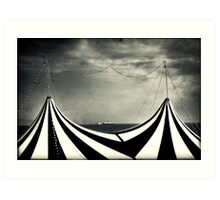 Circus with distant ships Art Print