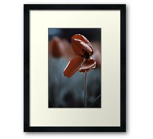 Existing In The Rain ⦿ Blue Water And Scarlet Tulips Framed Print