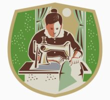 Seamstress Dressmaker Sewing Shield Retro by patrimonio