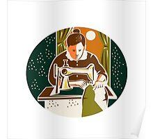 Seamstress Dressmaker Sewing Oval Retro Poster