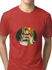 Seamstress Dressmaker Sewing Oval Retro Tri-blend T-Shirt