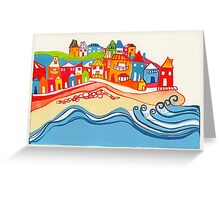 Seaside Town illustration Greeting Card