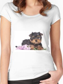 Puppy York and flowers Women's Fitted Scoop T-Shirt