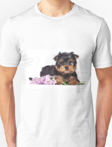 Puppy York and flowers T-Shirt