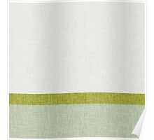 3 Toned Green Stripes and Banners Visual Burlap Weave Texture Pattern Modern Trendy Abstract Poster