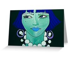Jezzabelle has blue hair and feels green Greeting Card
