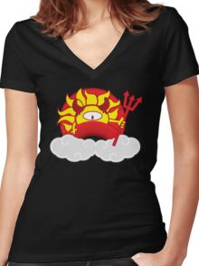 Devils Sun Darkness in Red Rainbow Women's Fitted V-Neck T-Shirt