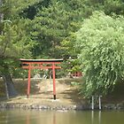 Japanese Gate on a Pond by lilac-hime