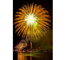 Single Sunflower Supernova - Sydney Harbour - New Years Eve - Midnight Fireworks  Photographic Print