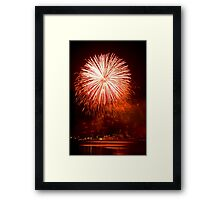 Red Light At Night - Sydney Harbour - New Years Eve - Midnight Fireworks  Framed Print