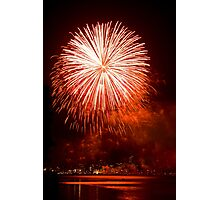 Red Light At Night - Sydney Harbour - New Years Eve - Midnight Fireworks  Photographic Print