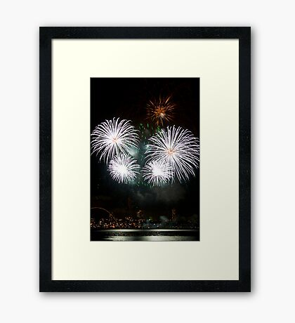 Consider The Lily - Sydney Harbour - New Years Eve - Midnight Fireworks Framed Print